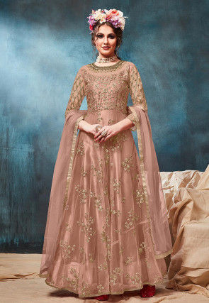 Embroidered Net Abaya Style Suit in Dusty Peach