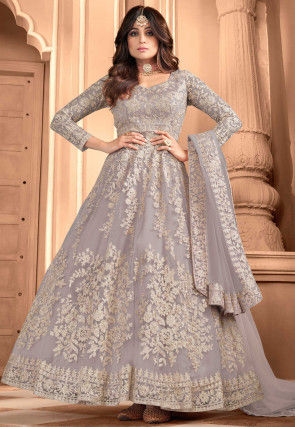 Embroidered Net Abaya Style Suit in Grey