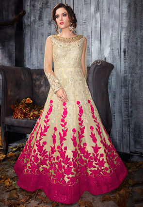 Embroidered Net Abaya Style Suit in Light Beige and Fuchsia