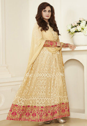 Embroidered Net Abaya Style Suit in Light Beige