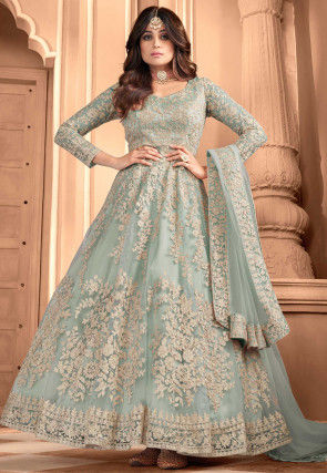 Embroidered Net Abaya Style Suit in Light Blue