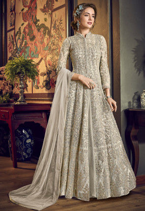 Embroidered Net Abaya Style Suit in Light Fawn