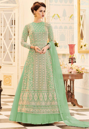 Embroidered Net Abaya Style Suit in Light Green