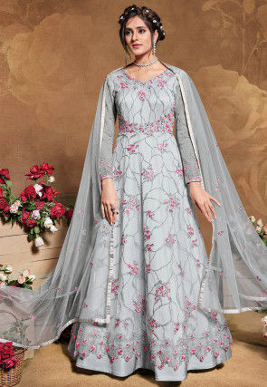 Embroidered Net Abaya Style Suit in Light Grey