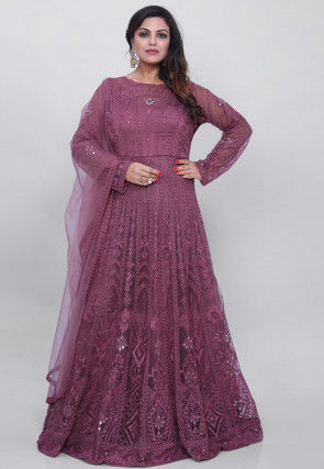 Embroidered Net Abaya Style Suit in Light Magenta