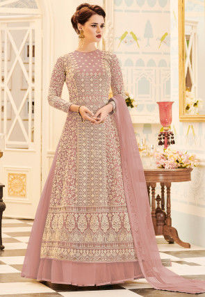 Embroidered Net Abaya Style Suit in Light Old Rose