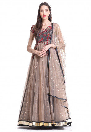 Embroidered Net Abaya Style Suit in Light Peach and Grey