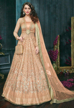 Embroidered Net Abaya Style Suit in Light Peach