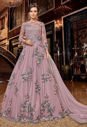 Embroidered Net Abaya Style Suit in Light Purple