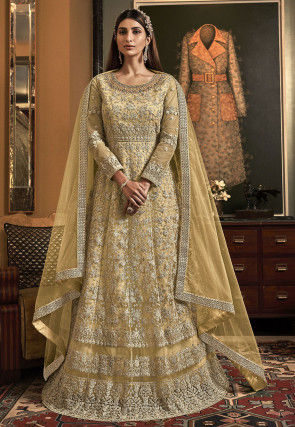 Embroidered Net Abaya Style Suit in Light Yellow