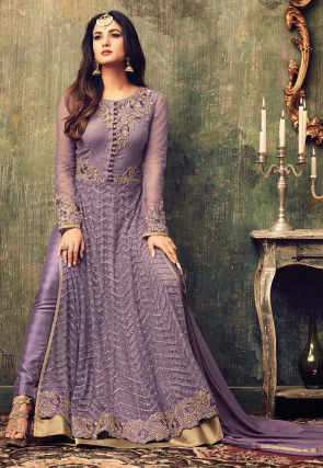 Embroidered Net Abaya Style Suit in Lilac