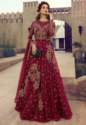 Embroidered Net Abaya Style Suit in Maroon