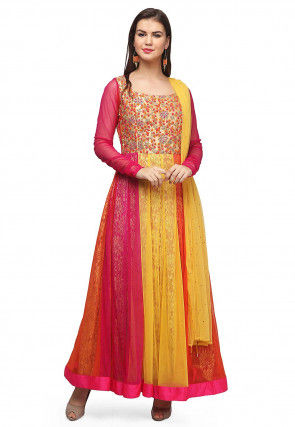 Embroidered Net Abaya Style Suit in Multicolor