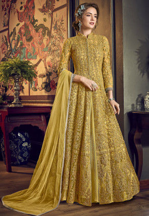 Embroidered Net Abaya Style Suit in Mustard