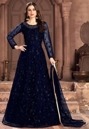 Embroidered Net Abaya Style Suit in Navy Blue