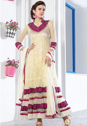 Embroidered Net Abaya Style Suit in Off White