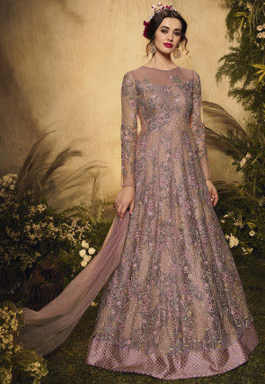 Embroidered Net Abaya Style Suit in Old Rose