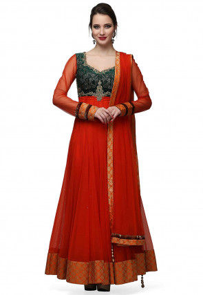 Embroidered Net Abaya Style Suit in Orange and Dark Green