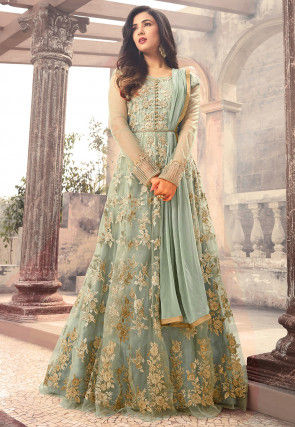 Embroidered Net Abaya Style Suit in Pastel Blue