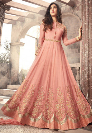 4c1f6411fd5 Embroidered Net Abaya Style Suit in Peach