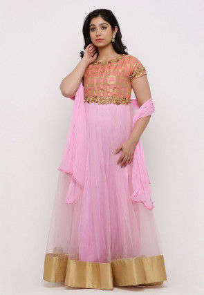 Embroidered Net Abaya Style Suit in Pink and Peach