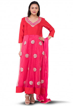 Embroidered Net Abaya Style Suit in Pink and Red
