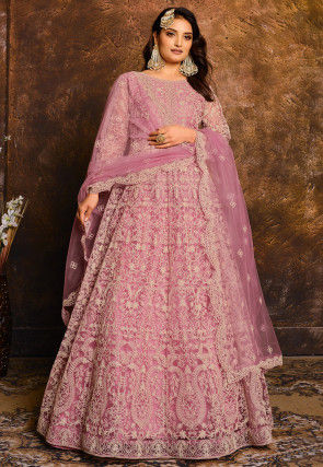 Embroidered Net Abaya Style Suit in Pink