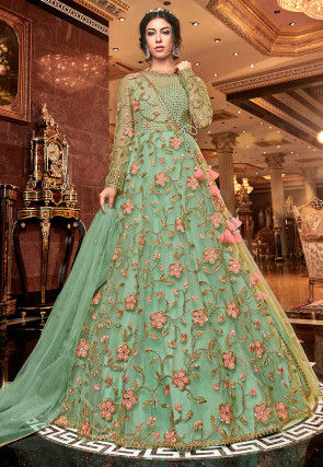 Embroidered Net Abaya Style Suit in Sea Green