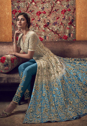 Embroidered Net Abaya Style Suit in Shaded Beige and Blue