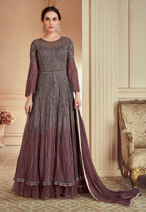 Embroidered Net Abaya Style Suit in Shaded Grey and Wine