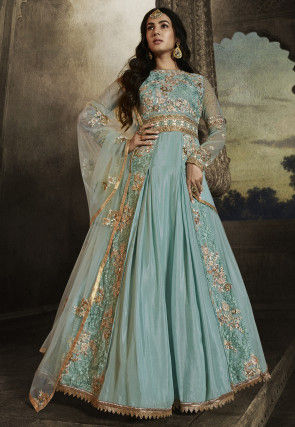 Embroidered Net Abaya Style Suit in Sky Blue