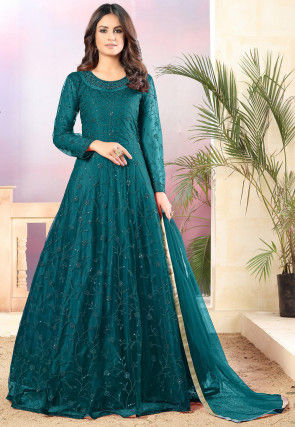 Embroidered Net Abaya Style Suit in Teal Blue