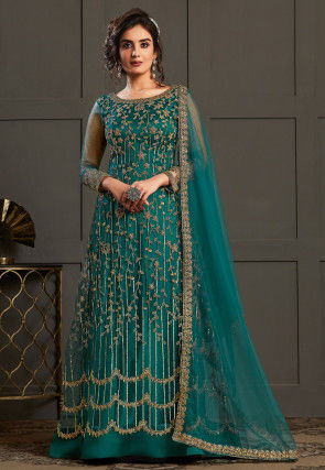 Embroidered Net Abaya Style Suit in Teal Green