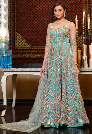 Embroidered Net Abaya Style Suit in Turquoise