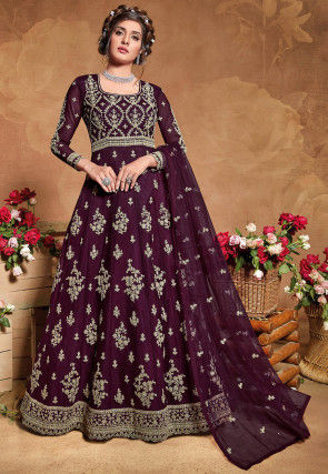 Embroidered Net Abaya Style Suit in Wine