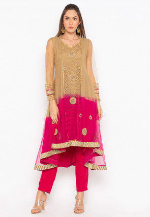 Embroidered Net Anarkali Kurta in Beige and Fuchsia