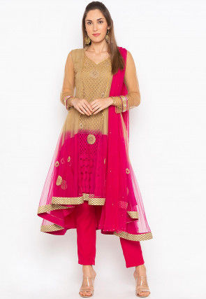 Embroidered Net Anarkali Suit in Beige and Fuchsia