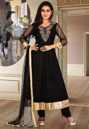 Embroidered Net Anarkali Suit in Black