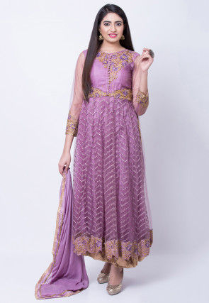 Embroidered Net Anarkali Suit in Light Purple