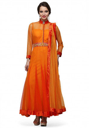 Embroidered Net Anarkali Suit in Orange