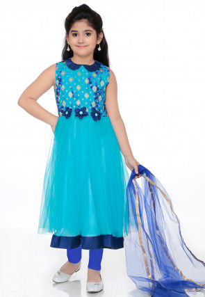 Embroidered Net Anarkali Suit in Turquoise