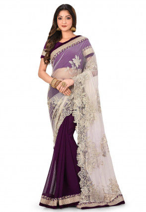 Embroidered Net and Chiffon Saree in White and Purple