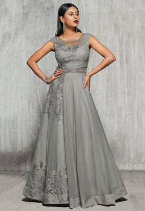 Embroidered Net and Tissue Gown in Grey