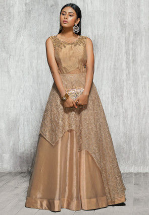 Embroidered Net and Tissue Layered Gown in Golden