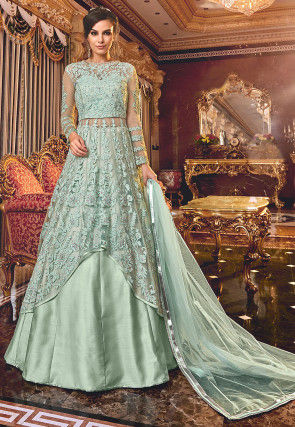 Embroidered Net Asymmetric Pakistani Suit in Light Sea Green