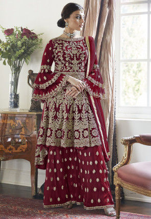 Embroidered Net Asymmetric Pakistani Suit in Maroon