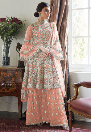 Embroidered Net Asymmetric Pakistani Suit in Peach