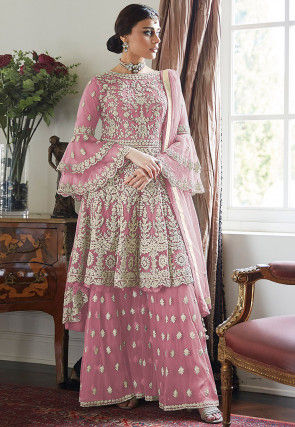 Embroidered Net Asymmetric Pakistani Suit in Pink