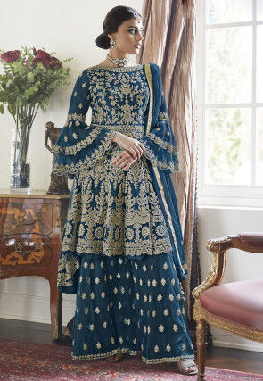 Embroidered Net Asymmetric Pakistani Suit in Teal Blue