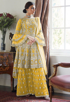 Embroidered Net Asymmetric Pakistani Suit in Yellow
